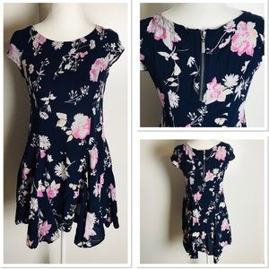 Urban Outfitters Floral Roses Mini Navy Pink Dress